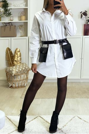 Long oversized white shirt sold without the belt