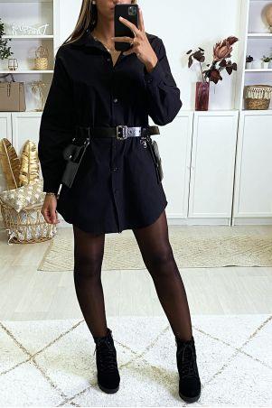 Longue chemise noir over size vendu sans la ceinture