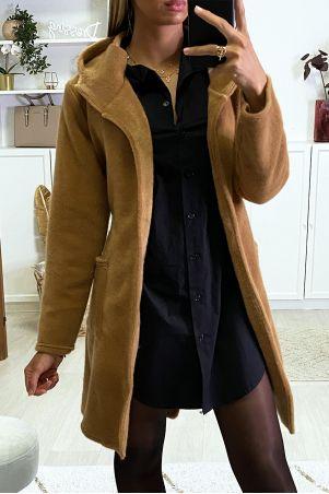 Camel dufteux jacket with belt and hood pockets