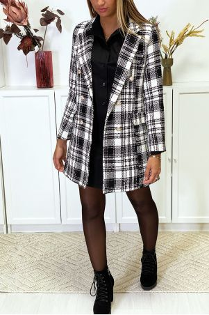 Black and white checked blazer jacket
