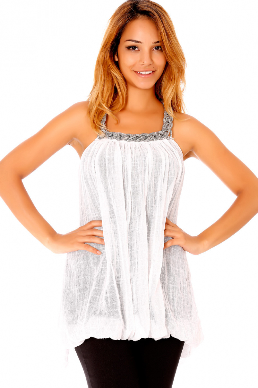 White flared tunic with jeweled collar. 1326