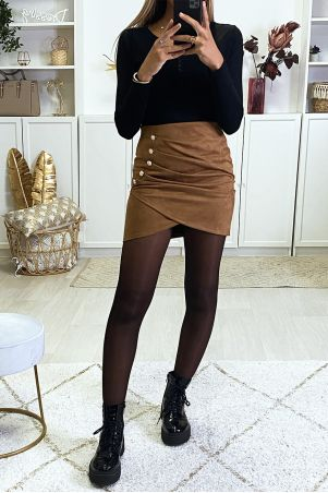 Crossover camel suede skirt with gold buttons