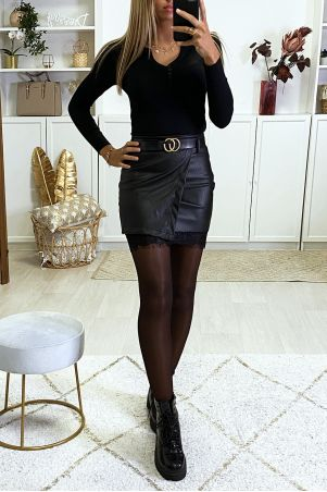 Black faux leather wrap skirt with belt and lace