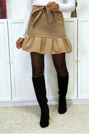 Camel suedette skirt with flounce and belt