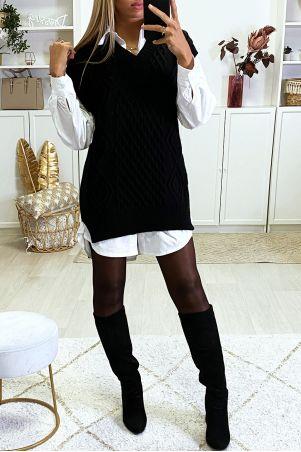 Zwarte mouwloze sweater met V-hals en splitjes aan de zijkanten