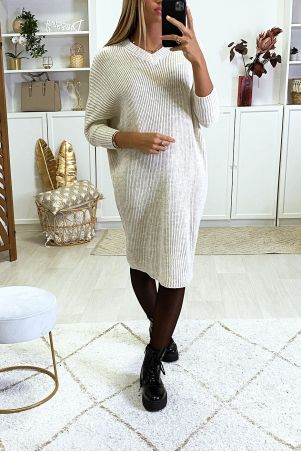 Beige V-neck sweater dress with batwing sleeves