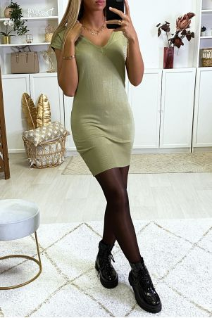 Khaki V-neck sweater dress with rhinestones on the side