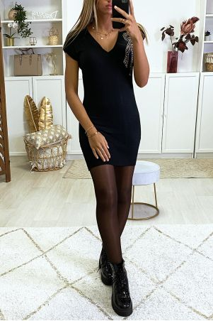 Black V-neck sweater dress with rhinestones on the side