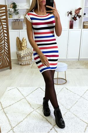 Colorful sweater dress with red and royal stripes
