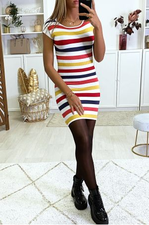 Colorful sweater dress with red and yellow bands