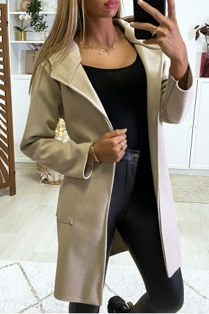 Beige jacket with hood belt and pockets