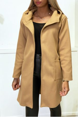 Camel jacket with hood belt and pockets