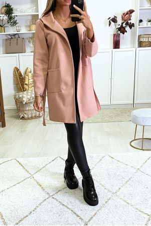 Pink jacket with hood belt and pockets