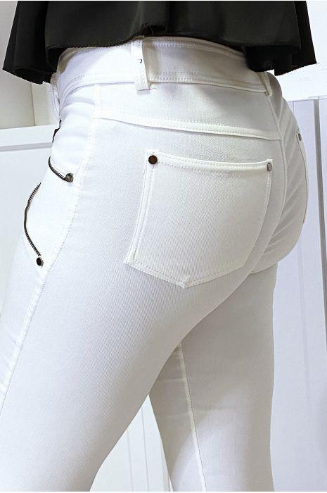 Pantalon slim camel en strech avec zip et suédine