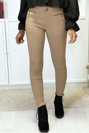 Camel slim pants in strech with zip and pockets