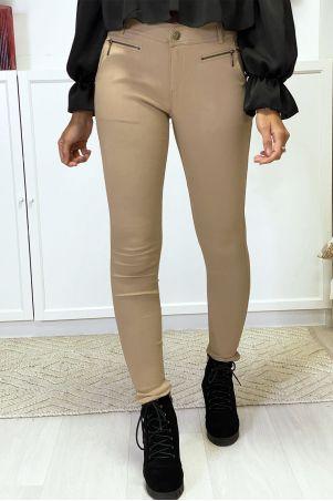Camelkleurige slim-fit broek met ritssluiting en zakken