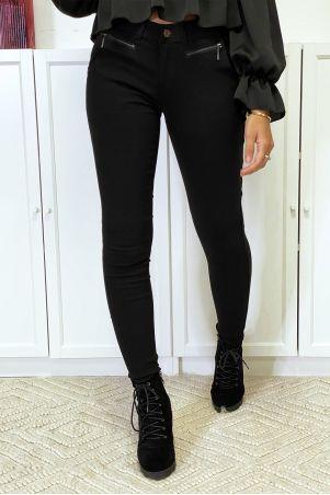 Zwarte slimfit broek in stretch met ritssluiting en zakken