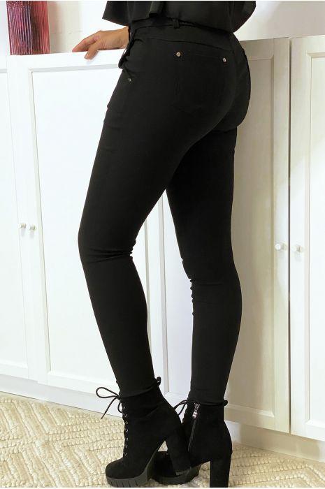 Pantalon slim noir en strech avec zip et poches