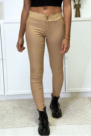 Camel slim pants in strech with gold zip and lace