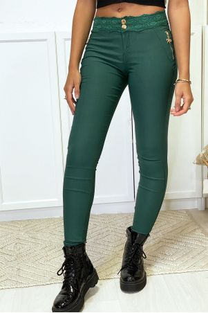 Green slim pants in strech with gold zip and lace