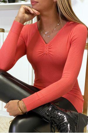 Fuchsia trui met ronde hals van zeer rekbaar en zeer zacht breisel