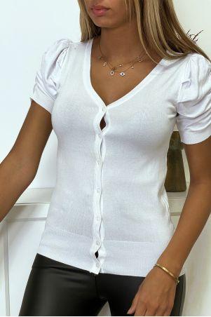 Wit gebreid vest met zeer zachte en rekbare pofmouwen