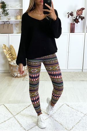 Black and red colorful pattern leggings with faux leather waistband