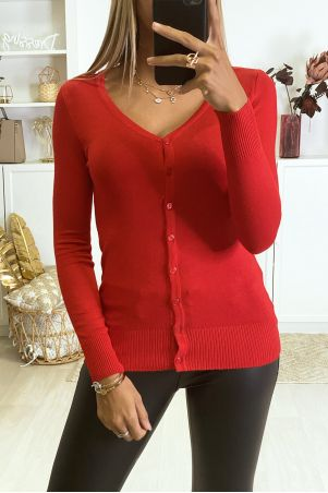 Red cardigan in very stretchy and very soft knit