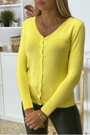 Zeer rekbaar en zeer zacht geel gebreid vest