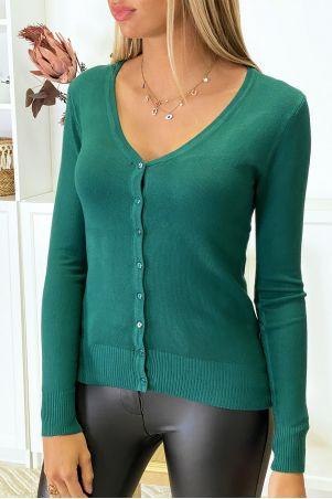 Zeer rekbaar en zeer zacht groen gebreid vest