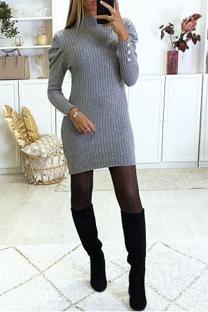 Very soft and very stretchy puff shoulder sweater dress