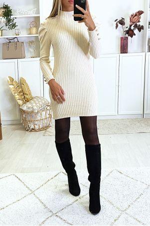 Beige sweaterjurk met pofschouders erg zacht en erg rekbaar