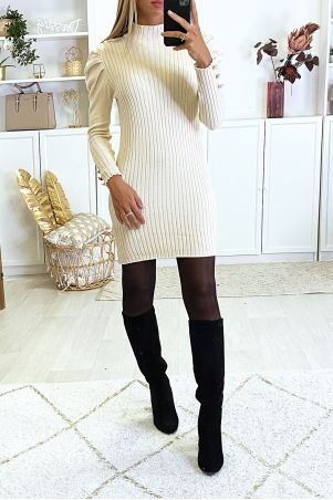 Robe pull beige épaules bouffante très doux et très extensible
