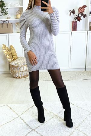 Taupe sweater dress puffed shoulders very soft and very stretchy