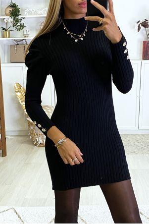 Robe pull noir épaules bouffante très doux et très extensible
