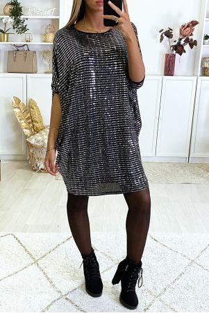 Robe tunique évasé avec motif paillette en forme carré argenté