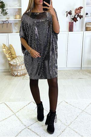 Robe tunique évasé avec motif paillette argenté