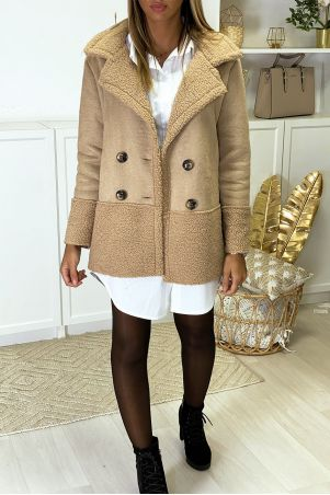 Beige suede coat with toupee