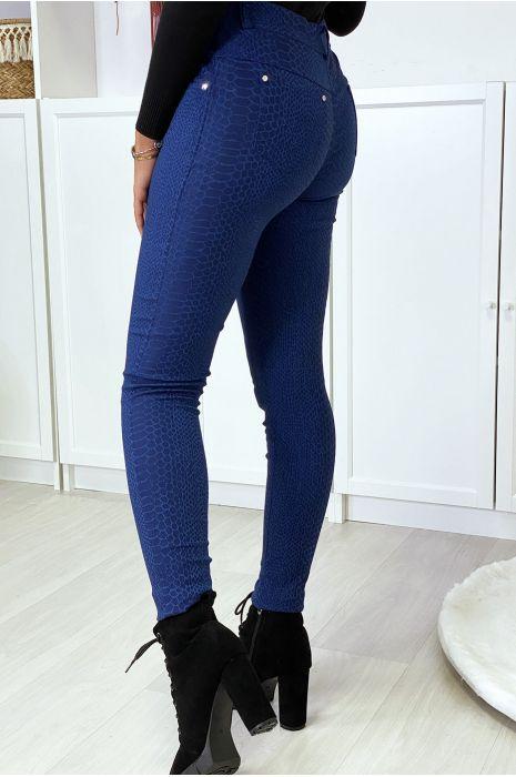 Pantalon slim marine motif python avec 5 poches