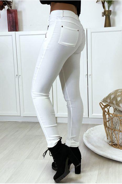 Pantalon slim blanc en strech avec zip et suédine