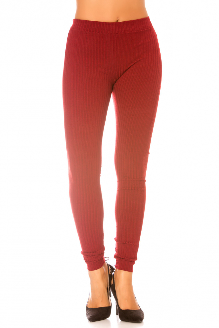 Bordeaux knitted leggings - Winter trend - 7116/7113