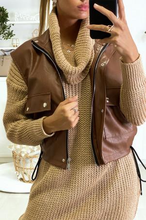 Veste cognac en simili sans manche avec zip poche et lacet