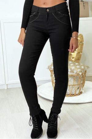 Pantalon slim noir en strech avec zip et suédine à l'avant