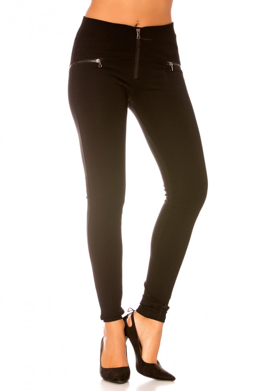 Pantalon Noir avec fermeture éclair sur le devant - SD078