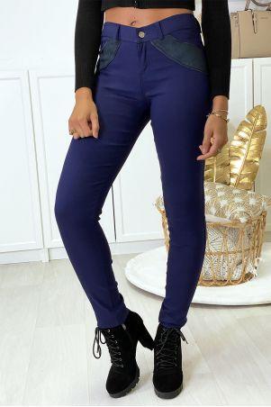 Pantalon slim marine en strech avec zip et suédine à l'avant