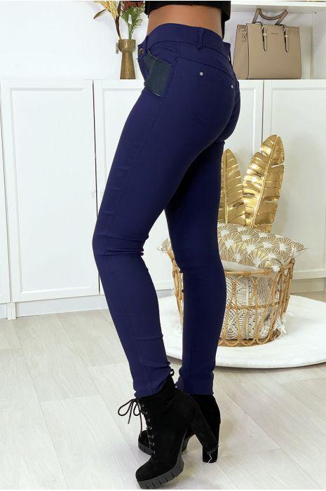 Zwarte slimfit broek in stretch met ritssluiting en suède