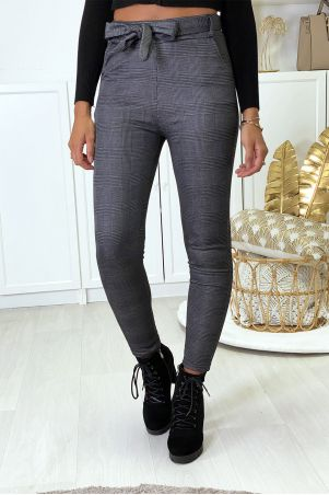 Slim-fit charcoal check pants, fleece inside with pockets and belt