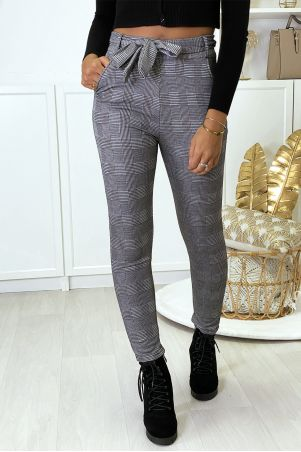 Gray check slim pants fleece inside with pockets and belt