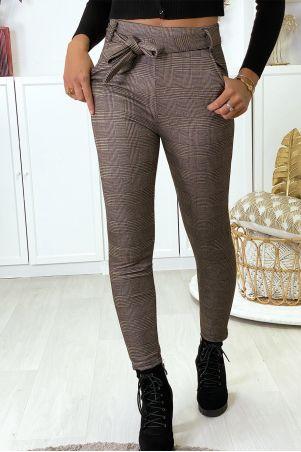Pantalon slim à carreaux taupe molletonné à l'intérieur avec poches et ceinture