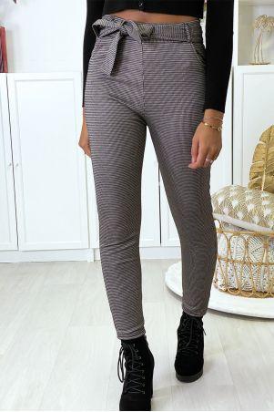 Pantalon slim à motif vichy taupe molletonné à l'intérieur avec poches et ceinture